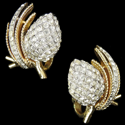Trifari 'Alfred Philippe' Gold and Silver Pinecones on Branches Clip Earrings