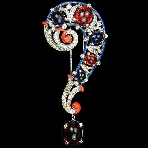 Trifari 'Alfred Philippe' Pave and Enamel Ruby and Sapphire Cabochons Question Mark or Musical Bass Clef Pin Clip