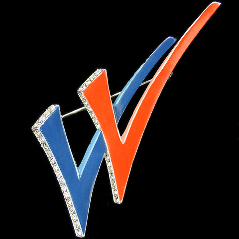 Trifari 'Alfred Philippe' WW2 US Patriotic Red White and Blue Double V for Victory Checkmarks Pin