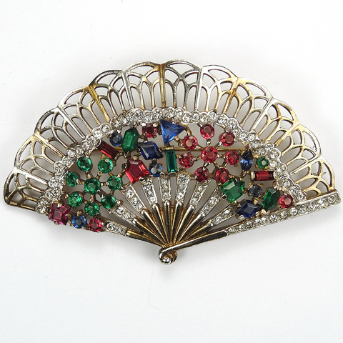 Trifari Sterling 'Alfred Philippe' 'Riviera' Series Tricolour Flower Pattern and Openwork Fan Pin