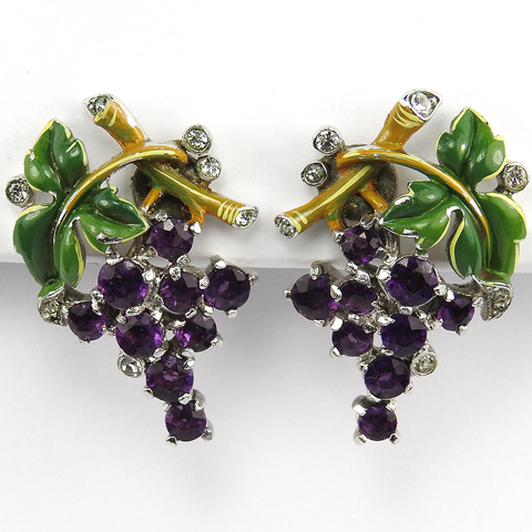 Trifari 'Alfred Philippe' Amethyst Berries and Enamel Leaves and Branches Screwback Earrings