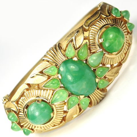 Trifari 'Alfred Philippe' 1960s Jewels of India Gold and Emerald Cabochons Bangle Bracelet