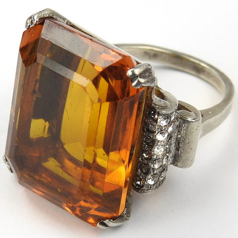 Trifari Sterling 'Alfred Philippe' Table Cut Topaz 'Tank Bracelet' Finger Ring