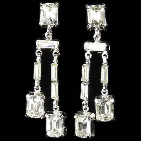 Trifari 'Alfred Philippe' Baguettes and Square Cut Diamante Double Pendant Clip Earrings