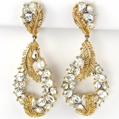 Trifari 'Alfred Philippe' Gold Leaves and Diamante Pendant Wreath Clip Earrings