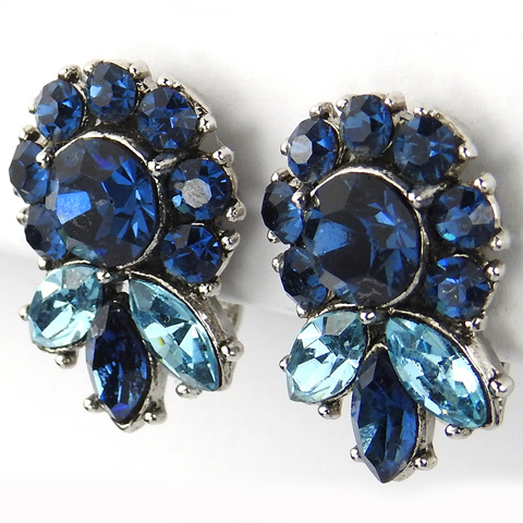 Trifari 'Alfred Philippe' Sapphire Flower and Blue Topaz Leaf Button Clip Earrings