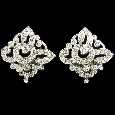 Trifari 'Alfred Philippe' Pave Flower Circles Pattern Square Button Clip Earrings