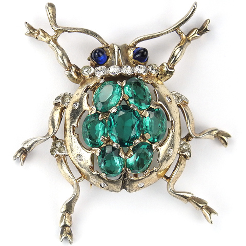 Trifari Sterling 'Alfred Philippe' Emerald Backed Beetle Bug Pin Clip