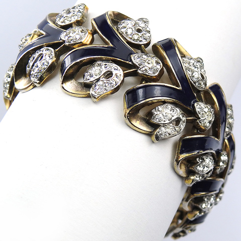 Trifari 'Alfred Philippe' 'Empress Eugenie' Gold Pave and Blue Enamel Linked Chevrons Bracelet