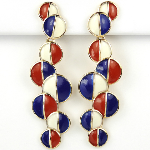 Trifari Red White and Blue Patriotic Bubbles Giant Pendant Clip Earrings