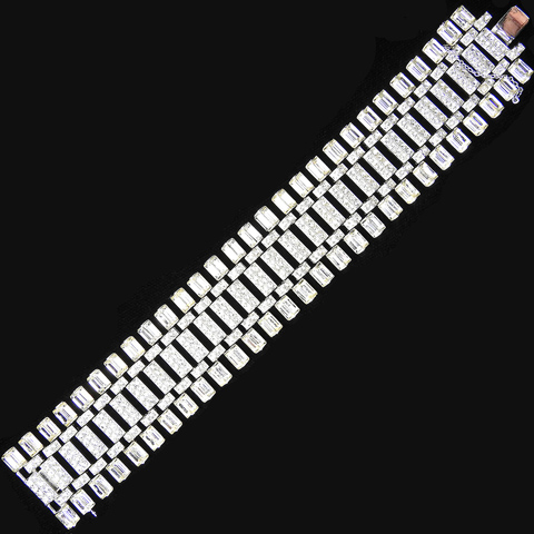 Trifari 'Alfred Philippe' Pave and Baguettes Wide Deco Links Bracelet