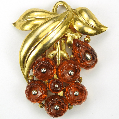 Trifari 'Alfred Philippe' Gold Leaves and Topaz Fruit Salad Berry Cluster Dress Clip