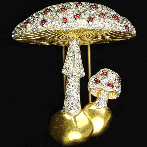 Trifari 'Alfred Philippe' Gold Pave and Ruby Cabochons Double Mushroom Pin Clip
