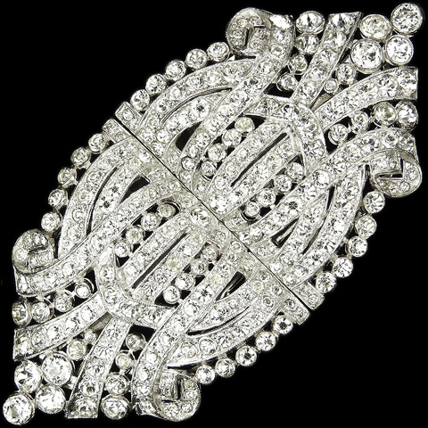KTF Trifari 'Alfred Philippe' Double Pave Swirl Deco Pair of Dress Clips or Clipmate Pin