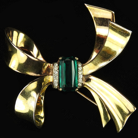 Trifari Sterling 'Alfred Philippe' Gold and Emerald Bow Pin