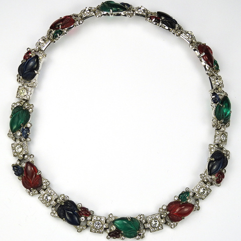 KTF Trifari 'Alfred Philippe' Square Pave Links and Pave and Tricolour Fruit Salads Choker Necklace or Pair of Bracelets