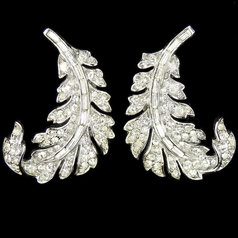 Trifari 'Alfred Philippe' Pave and Baguettes 'Royal Plume' Leaf Swirl Clip Earrings