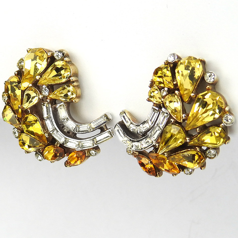 Trifari 'Alfred Philippe' Citrine and Topaz Teardrops and Diamante Baguettes Leaf Swirl Clip Earrings