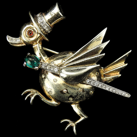 Trifari Sterling 'Alfred Philippe' Top Hatted Spangled Duck with Emerald and Pave Cane Pin