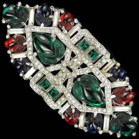 KTF Trifari 'Alfred Philippe' 1930s Jewels of India Pave Baguettes and Tricolour Fruit Salads Hexagon Bar Pin