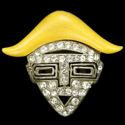 Trifari and Krussman Deco Pave Smaller Toreador Face Mask with Yellow Bakelite Hat Dress Clip