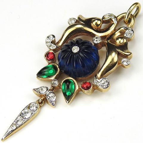 Trifari 'Alfred Philippe' Moghul Jewels Gold Scrolls Melon Cut Sapphire and Emeralds Necklace Pendant