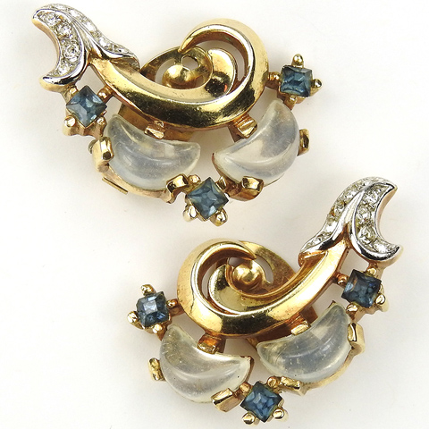 Trifari 'Alfred Philippe' 'Clair de Lune' Sapphire and Moonstone Demilune Gold Floral Swirl Clip Earrings