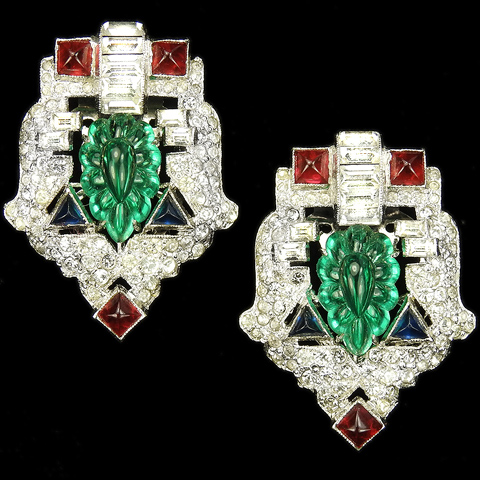 KTF Trifari 'Alfred Philippe' 1930s Jewels of India Ruby Sapphire and Emerald Fruit Salad Pave and Baguette Shields Pair of Dress Clips