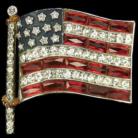 Trifari 'Alfred Philippe' WW2 US Patriotic Pave Blue Enamel and Open Back Ruby Baguettes Fluttering Stars and Stripes Flag Pin