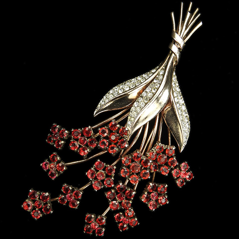Trifari Sterling 'Alfred Philippe' Giant Gold Pave and Ruby Square Pentagon and Hexagon Shaped Flower Clusters Pin Clip