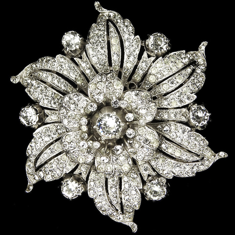 Trifari 'Alfred Philippe' Pave Rose Flower Trembler with Spangles and Six Radiant Leaves Pin Clip