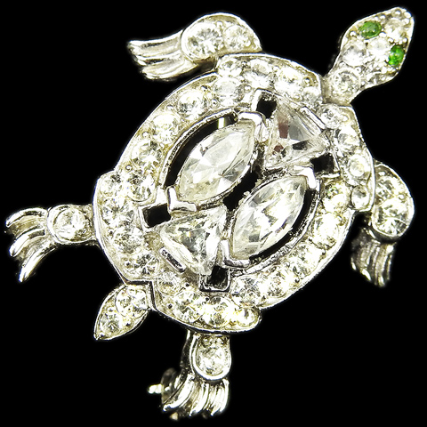 Trifari 'Alfred Philippe' Miniature Pave and Navettes Turtle Pin