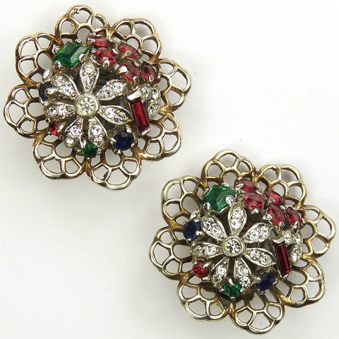 Trifari Sterling 'Alfred Philippe' 'Riviera' Series Tricolour Floral Dome and Openwork 'Lace Edge' Clip Earrings
