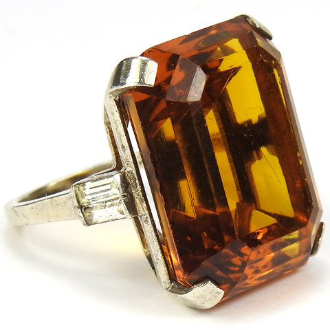 Trifari Sterling 'Alfred Philippe' Table Cut Topaz and Baguettes 'Tank Bracelet' Finger Ring