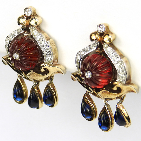 Trifari 'Alfred Philippe' 'Scheherazade' Moghul Melon Cut Rubies and Pendant Sapphires Clip Earrings