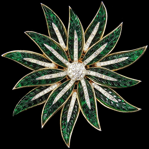 Trifari 'Alfred Philippe' Gold Pave and Invisibly Set Emerald Poinsettia Star Flower Pin
