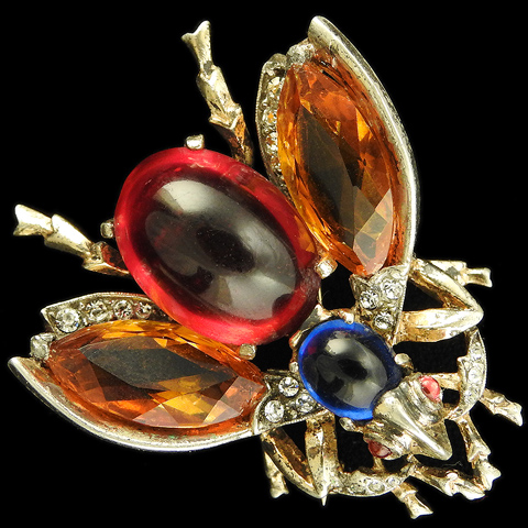 Trifari Sterling 'Alfred Philippe' Citrine Sapphire and Ruby Cabochon Belly Bug Pin
