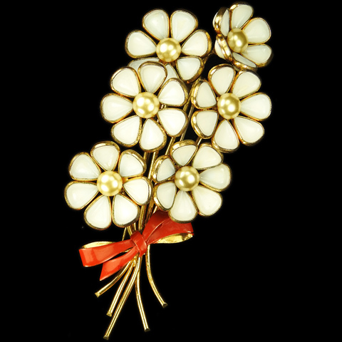 Trifari 'Alfred Philippe' White Poured Glass and Pearls Spray of Six Flowers with Red Bow Pin Clip