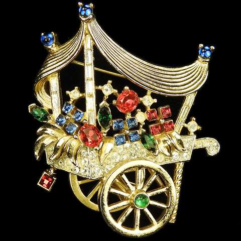 Trifari 'Alfred Philippe' 'Paris in the Spring' Gold and Multicolour Stones French Flower Cart Pin