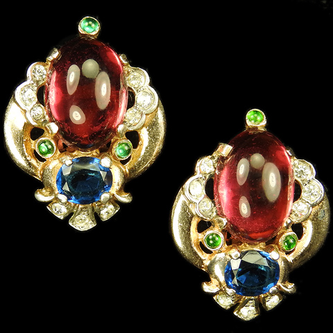 Trifari 'Alfred Philippe' 'Jewels of Tanjore' Ruby Cabochon and Sapphire Clip Earrings