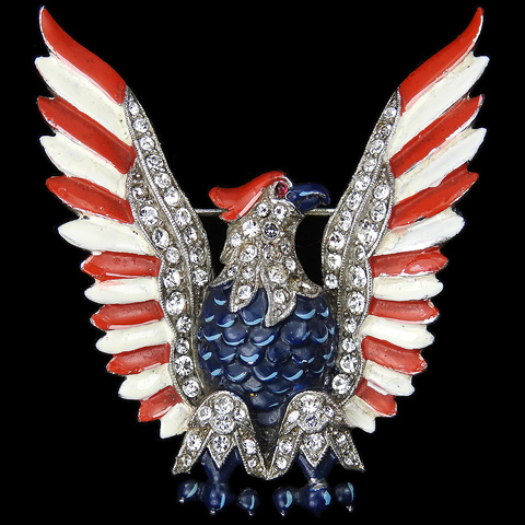 Trifari 'Alfred Philippe' WW2 US Patriotic Red White and Blue Eagle Stretching its Wings Pin