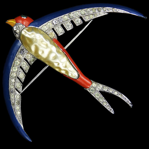 Trifari 'Alfred Philippe' WW2 US Patriotic Pave and Enamel Red White and Blue Pearl Bellied Swallow Pin