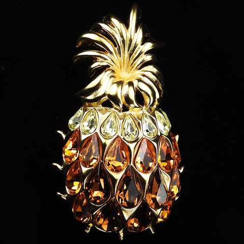 Trifari TM 1996 Gold Citrine and Topaz Pineapple Pin