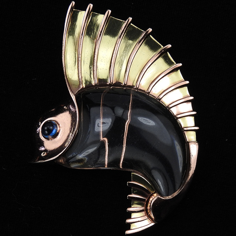 Trifari 'Norman Bel Geddes' Two Colour Gold Jelly Belly Sailfish Pin Clip