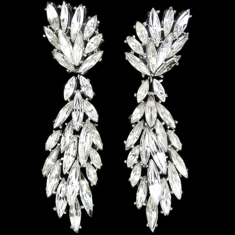 Trifari 'Alfred Philippe' Multiple Navette Cascades Diamante Articulated Pendant Clip Earrings