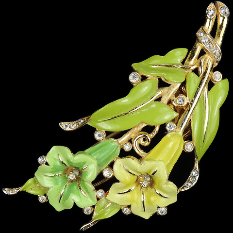 Trifari 'Alfred Philippe' Gold Green and Yellow Lillies and Leaves Pastel Enamel Pin Clip