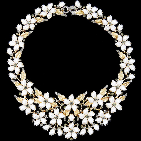 Trifari 'Alfred Philippe' 'Sorrento' Gold Leaves Black Diamonds and Baby's Tooth Pearl Flowers Collar Necklace