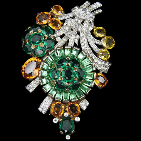 Trifari 'Alfred Philippe' Gold Two Tones of Emerald and of Topaz Pave Swirl Flower Spray Pin Clip