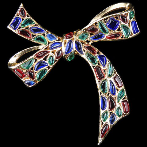 Trifari 'Modern Mosaics' Emerald Ruby and Sapphire Poured Glass Bow Pin