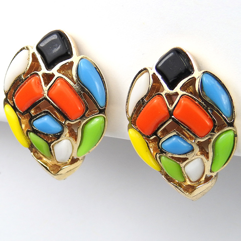 Trifari 'Modern Mosaics' Multicolour Fruitdrop Poured Glass Oval Button Clip Earrings